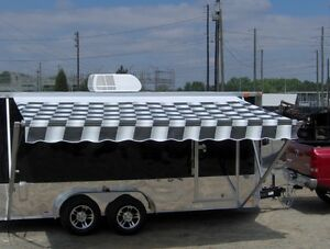 7x16 Enclosed Motorcycle Cargo Trailer A c Unit W Awning Toy Hauler Camper New