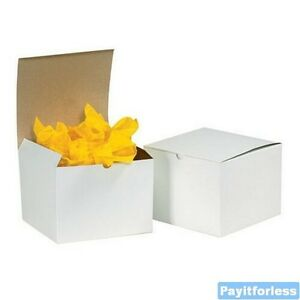 6 X 6 X 4 White Merchandise Retail Packaging Chipboard Gift Boxes 100 Pc