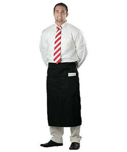 100 Waiter Server Bistro Waist Aprons Black 2 Pocket
