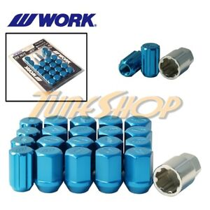 Work Racing Rs Type Forged Aluminum Lock Lug Nuts 12x1 5 M12 1 5 Blue 20 Pcs T