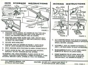 1967 Ford Thunderbird Jack Instruction Decal