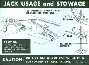 1969 Ford Thunderbird Jack Instruction Decal