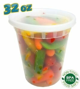 240 Sets 32 Oz Clear Plastic Soup food Containers W lids Combo microwaveable