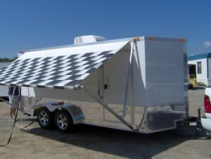 7x16 Enclosed Motorcycle Cargo Trailer A c Unit Awning White Race Trailer New