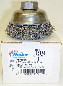 Weiler 13178 3 1 2 Crimped Wire Cup Brush 3 8 24thd 10pc Lot
