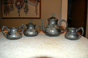 Antique Homan Silver Plate Coffee Pot Set 1850 1904 Quadruple Plated Tea Set