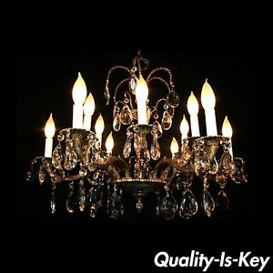 D05 Vintage 12 Light French Style Brass Crystal Chandelier Light Fixture
