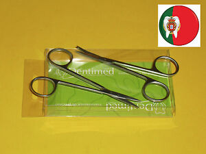 New Pack Of 2 Medical Dental Iris Scissor Straight Curved 11 5 Cms Angelus