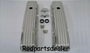 Small Block Chevy Nostalgia Finned Short Valve Covers Hot Rod Sbc New Pair