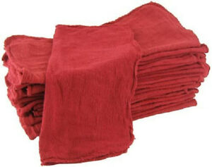 150 Industrial Shop Rags Cleaning Towels Red 14 x14 Commercial Janitorial