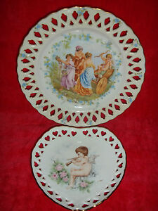 2 Lovely Antique Schumann Germany Reticulated Plates Cupid Roman Women