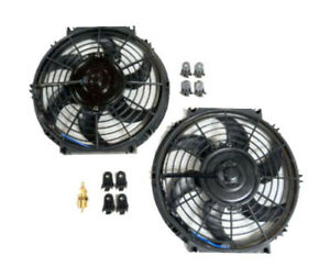 10 Dual Electric Radiator Fan With 210 Degree Temperature Thermostat Switch New