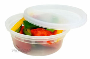 8 Oz Round Deli Food soup Storage Containers W lid Microwavable Plastic 96 Sets
