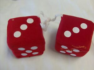 Fuzzy Dice To Hang From Rear View Mirror Red 3 Inch