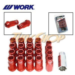 Work Racing Rs R Extended Forged Aluminum Lock Lug Nuts 12x1 5 1 5 Red Open L