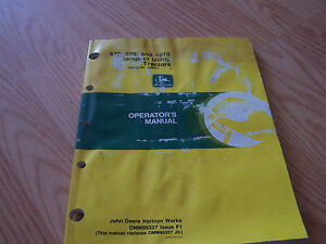 John Deere 870 970 And 1070 Utility Tractors Operator s Manual