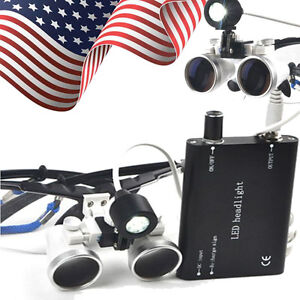 Dental Medical Binocular Loupes 3 5x 420mm Optical Glass Loupe Led Head Light