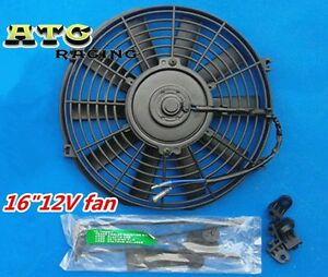 16 12v Slim Radiator Cooling Thermo Fan mounting Kit universal Electric Fan