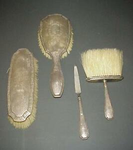 Antique Meriden Sterling Vanity Brush 4 Pc Set C 1895