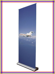 Water Drop Luxury Retractable Banner Stand w34 X H80 Silver Color R700