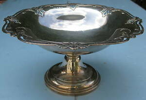 1920 English Sterling Silver Center Bowl On Pedestal Magnificent