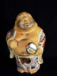 Fabulous Vintage Japanese Kutani Handpainted Hotei With His Sack