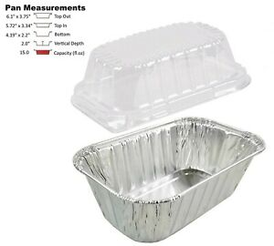 1 Lb Aluminum Foil Mini loaf Pan W clear Dome Lid 25 pk Disposable Containers