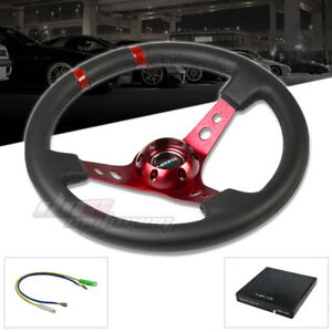 Nrg 350mm 3 deep Limited Racing sport Steering Wheel double Red Center Markings