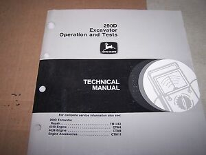John Deere 290d Excavator Operation Tests Technical Manual