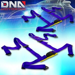 Universal Jdm Pair X2 Sets 4 point Blue Racing Harness Seat Belt belts Mounting