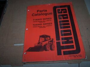 Thomas T183hd T233hd Skid Steer Parts Manual S n Lj000101 Onward Lh000101 Onward