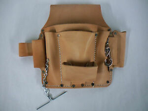 Electrician s Tool Pouch For Belt Quality Saddle Leather 6 Pockets New