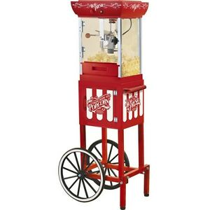 48 Vintage Oil Kettle Popcorn Machine Cart Red Retro Theater Pop Corn Maker