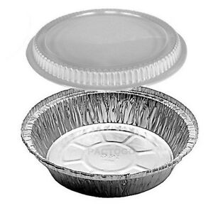 7 Round Aluminum Foil Take out Pan Containers W clear Plastic Dome Lid 500 pk
