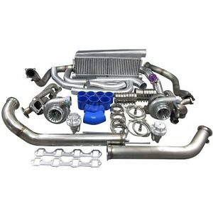 Gt35 Twin Turbo Intercooler Kit For 79 93 Ford Foxbody Mustang 5 0l Dual 900 Hp