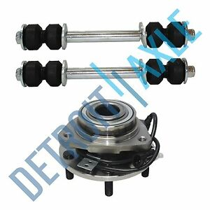 3 Pc Kit New Front Wheel Hub Bearing And Assembly And 2 New Sway Bar Links Gmc