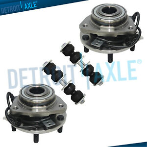 4 Pc Kit 2 New Front Wheel Hub Bearing Assembly 2 New Sway Bar Link 4wd Abs