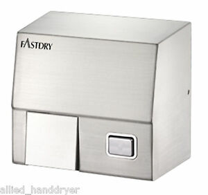 Fastdry Hk1800ss 110v 120v Push Button Stainless Steel Hand Dryer W Wall Plug