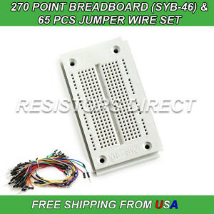 270 Point Breadboard Syb 46 65pcs Jumper Wire Solderless Pcb Prototyping New