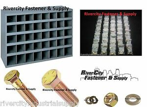 Grade 8 Coarse Thread Bolt Nut Washer Assortment 1496 Pieces With 40 Hole Bin