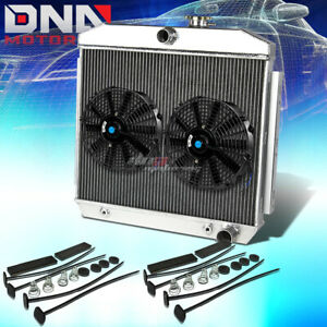 55 57 Chevy Small Block Sbc V8 3 Row Full Aluminum Racing Radiator X2 Black Fan