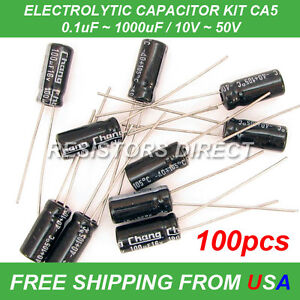 100pcs 10 Value Electrolytic Capacitor Kit Assortment 0 1 1000uf 10 50v Ca5