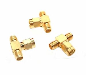 Rf Adapter Sma tee Male Two Female Lot Of 3 ca912