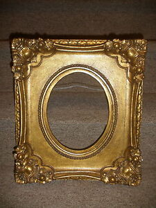 Nice Antique Wooden Frame 16 X 14 For Oval Painting 8 1 2 X 7