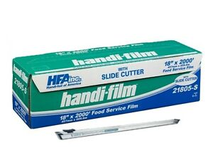 Handi film 18 x2000 Plastic Food Service Film Cling Wrap W safety Slide Cutter