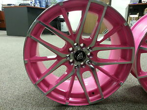 17 Inch Style 0029 Pink Machine Rims Wheels Tires 5x100 Fit Yaris Civic Matrix