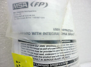 new Msa Safety Lanyard 501222 With Integral Dynabrake