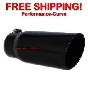 Black Diesel Stainless Steel Bolt On Exhaust Tip 5 Inlet 6 Outlet 15 Long