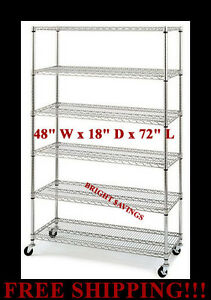 Commercial Metal Steel Rolling Storage Shelving Rack Chrome Wire Shelf 3 Caster
