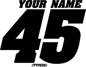 Name Mx Number Plate Decals Motocross Stickers Atv Bmx Race Dirt Bike Car Trial